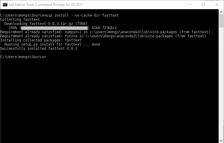 Compiling Python package with C extension on Windows 10 and